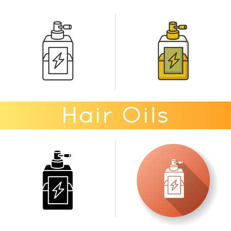 Antistatic hair sprayer icon. Liquid product in container for winter haircare. Chemical cosmetic formula for hair treatment. Linear black and RGB color styles. Isolated vector illustrations