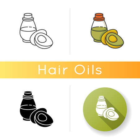 Avocado oil icon. Organic antioxidant liquid in jar. Vegan skincare beauty product. Natural cosmetic for hair treatment. Linear black and RGB color styles. Isolated vector illustrations