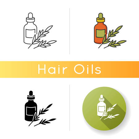 Rosemary oil icon. Herbal essence for aromatherapy. Organic plant ingredient. Natural cosmetic product for hair treatment. Linear black and RGB color styles. Isolated vector illustrations