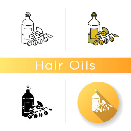 Jojoba essential oil icon. Liquid product in jar container for haircare. Natural cosmetic for nourishing hair treatment. Linear black and RGB color styles. Isolated vector illustrations