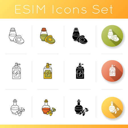 Hair oils icons set. Avocado essence in glass jar. Antistatic spray for winter haircare. Argan extract in liquid form. Linear, black and RGB color styles. Isolated vector illustrations