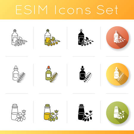 Hair oils icons set. Jojoba essence on glass bottle. Hydrolyzed wheat protein. Grape seed extract in package for haircare. Linear, black and RGB color styles. Isolated vector illustrations