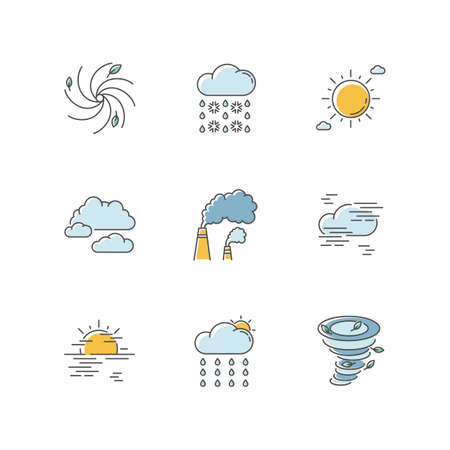 Meteorology RGB color icons set. Weather forecasting science, environment condition prediction. Humidity, atmospheric precipitation. Isolated vector illustrations