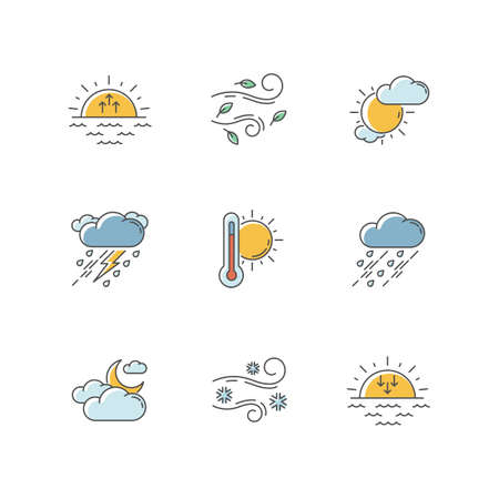 Weather forecast RGB color icons set. Sky condition and temperature prediction. Day and night atmospheric precipitation, wind speed. Isolated vector illustrations