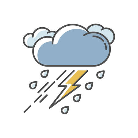 Thunderstorm RGB color icon. Bad weather, meteo forecast. Strong atmospheric precipitation, rainstorm. Raining cloud with lightning isolated vector illustration