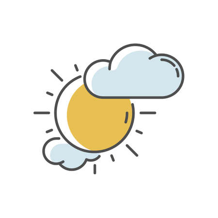 Partly cloudy RGB color icon. Daytime weather forecast, meteorological prediction. Moody sky, partly sunny. Shiny sun with clouds isolated vector illustration