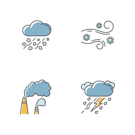 Bad weather forecast RGB color icons set. Meteorology, atmosphere condition prediction. Hail, blowing snow, smoke and thunderstorm. Isolated vector illustrations