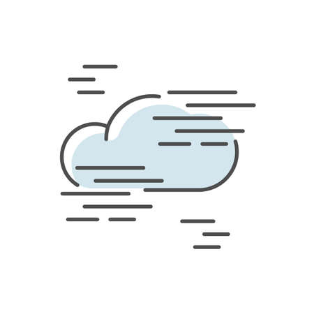Fog blue RGB color icon. Foggy weather, meteorological forecast. Atmosphere humidity. Natural Phenomenon with low visibility. Cloud in mist isolated vector illustration
