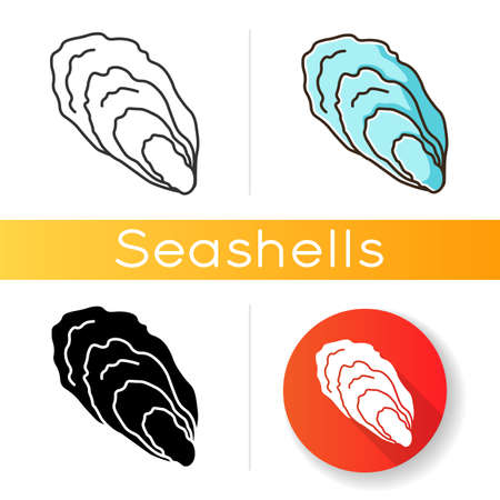 Oyster black glyph icon. Common seashell, decorative cockleshell. Gourmet food, seafood, conchology silhouette symbol on white space. Ocean scallop, clam shell vector isolated illustration 向量圖像