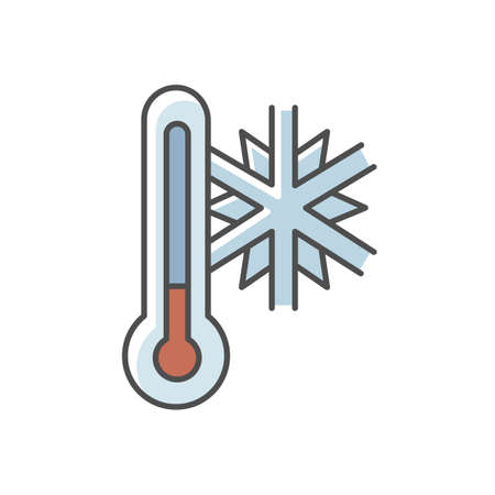 Frigid temperature RGB color icon. Winter frost, cold seasonal weather forecast, meteorological prediction. Thermometer with snowflake isolated vector illustration Stock Illustratie
