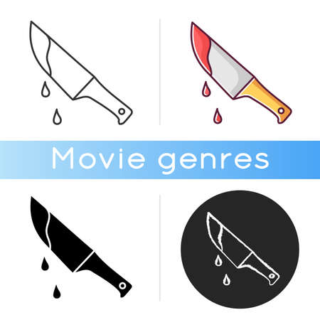 Thriller movie icon. Linear black and RGB color styles. Suspenseful cinema genre, survival horror, action. Shocking films with gore and violence. Bloody knife isolated vector illustrations