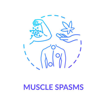 Muscle spasms concept icon. Medical marijuana, good MMJ side effect idea thin line illustration. Body cramps, pain treatment with cabbanis. Vector isolated outline RGB color drawing