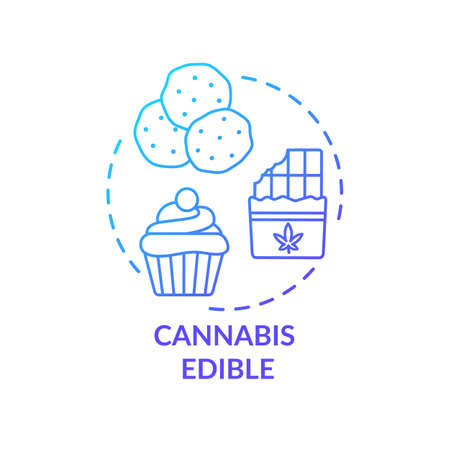 Cannabis edible concept icon. Marijuana infused food, hemp snacks idea thin line illustration. Delicious desserts, sweets with marihuana. Vector isolated outline RGB color drawing