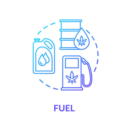Fuel concept icon. Cannabis based petrol and gasoline, hemp oil use idea thin line illustration. Natural resource, organic biofuel component. Vector isolated outline RGB color drawing