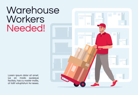 Warehouse workers needed poster template. Logistic industry hiring. Commercial flyer design with semi flat illustration. Vector cartoon promo card. Courier company vacancy advertising invitation