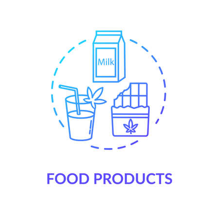 Food products concept icon. Cannabis infused food, edible hemp products idea thin line illustration. Snacks and drinks with cannabinoids. Vector isolated outline RGB color drawing