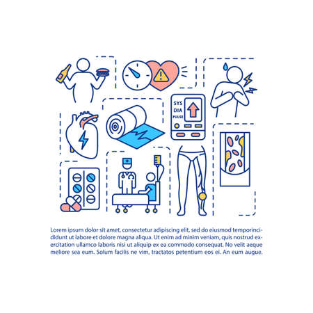 Cardiovascular diseases concept icon with text. Heart illness PPT page vector template. CVD symptoms and diagnostics brochure, magazine, booklet design element with linear illustrations