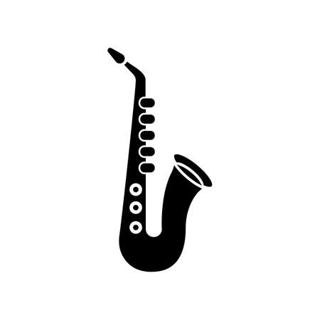 Saxophone black glyph icon. Musical instrument to play blues. Jazz band live performance. Music festival concert and entertainment. Silhouette symbol on white space. Vector isolated illustration