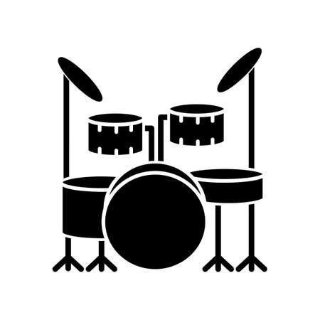Drum kit black glyph icon. Musical instrument on stage for live band performance. Crash cymbals and snare drum in drumset. Silhouette symbol on white space. Vector isolated illustration Illustration