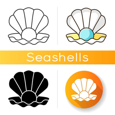 Open clam with pearl black glyph icon. Exotic seashell with precious gem. Ocean souvenir, conchology silhouette symbol on white space. Scallop shell, oyster, mussel vector isolated illustration 向量圖像