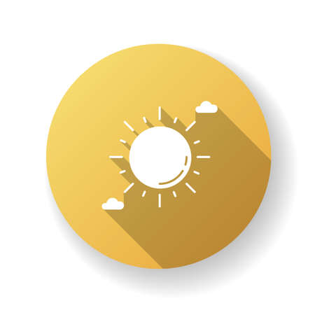 Clear sunny sky yellow flat design long shadow glyph icon. Partly cloudy meteo forecast, summertime weather, meteorology. Summer heat. Shining sun with clouds. Silhouette RGB color illustration