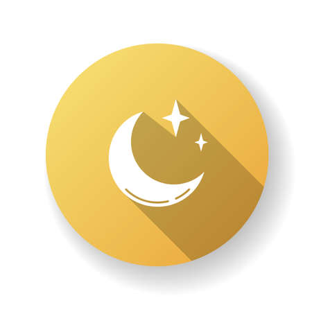 Clear night sky yellow flat design long shadow glyph icon. Meteorology, weather forecasting science. Sky clarity prediction. Crescent, half moon with shiny stars silhouette RGB color illustration
