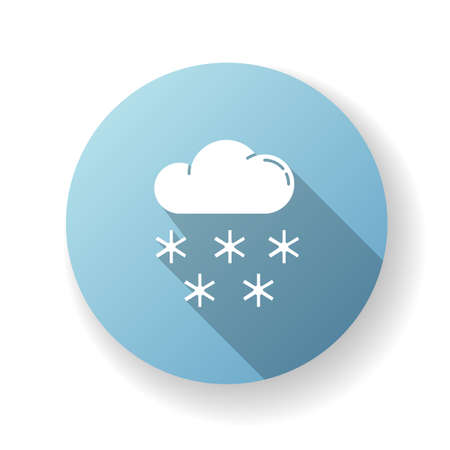 Snow blue flat design long shadow glyph icon. Meteorological forecast, wintertime weather forecast. Seasonal atmospheric precipitation. Cloud with snowflakes silhouette RGB color illustration Illustration