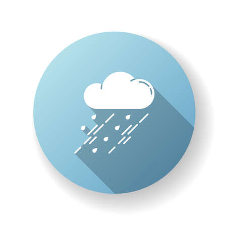 Showers blue flat design long shadow glyph icon. Rainy season, weather forecasting, meteorology. Strong atmospheric precipitation, downpour. Raining cloud silhouette RGB color illustration