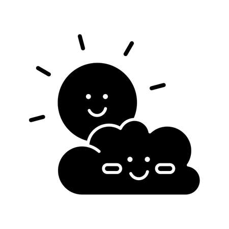 Children cartoons black glyph icon. Childish toons, animated movies and TV series silhouette symbol on white space. Kid friendly, positive genre. Smiling sun and cloud vector isolated illustration