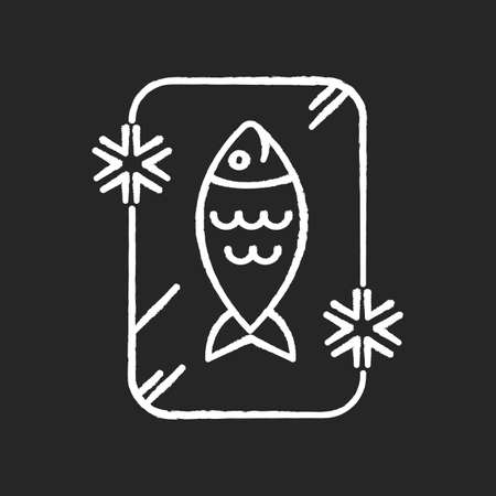 Frozen food chalk white icon on black background. Preserved fish. Frosted organic seafood. Cold salmon. Fresh tuna in ice. Refrigerator marine food storage. Isolated vector chalkboard illustration