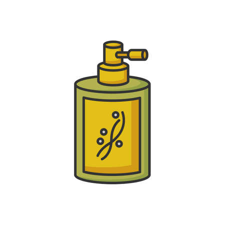 Liquid silicon in bottle RGB color icon. Liquid shampoo for hydration. Conditioner in jar container with sprayer. Chemical cosmetic product for hair treatment. Isolated vector illustration
