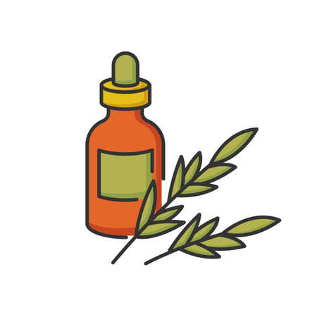 Rosemary oil RGB color icon. Herbal essence for aromatherapy. Massage oil for spa. Organic aromatic plant ingredient. Natural cosmetic product for hair treatment. Isolated vector illustration