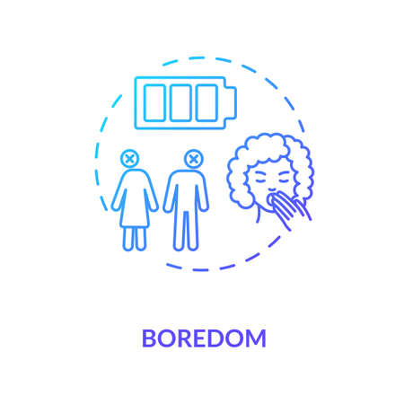 Boredom concept icon. Relationship problem thin line illustration. Boyfriend and girlfriend break up. Wife and husband divorce reason. Vector isolated outline RGB color drawing