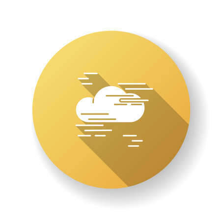 Fog yellow flat design long shadow glyph icon. Foggy weather, meteorological forecast. Atmosphere humidity. Natural Phenomenon with low visibility. Cloud in mist silhouette RGB color illustration