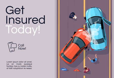 Insurance services banner template. Accident aid. Commercial horizontal flyer design with semi flat illustration. Vector cartoon promo card. Financial coverage policy advertising invitation