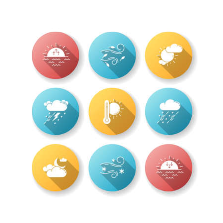 Weather forecast flat design long shadow glyph icons set. Sky condition and temperature prediction. Day and night atmospheric precipitation, wind speed. Silhouette RGB color illustration Vektoros illusztráció