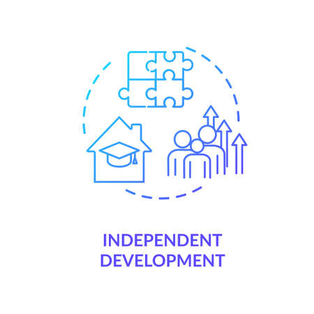Independent development concept icon. Family relationship, successful parenting idea thin line illustration. Children education. Vector isolated outline RGB color drawing
