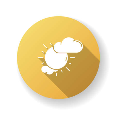 Partly cloudy yellow flat design long shadow glyph icon. Daytime weather forecast, meteorological prediction. Moody sky, partly sunny. Shiny sun with clouds silhouette RGB color illustration
