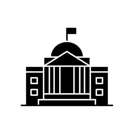 State institution black glyph icon. Supreme court building entrance. National museum exterior. Urban bank. Embassy facade. Silhouette symbol on white space. Vector isolated illustration Vektorgrafik
