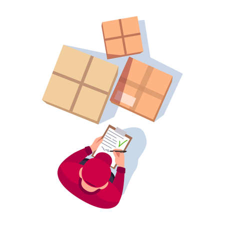 Check delivery document semi flat RGB color vector illustration. Postman with cardboard boxes. Deliveryman hold clipboard. Courier isolated cartoon character top view on white background