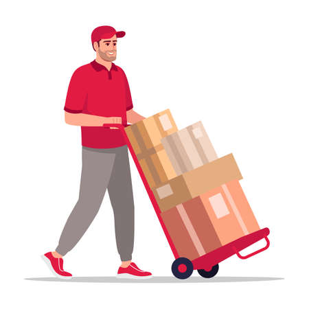 Storehouse worker with handtruck semi flat RGB color vector illustration. Warehouse employee carry boxes on cart. Caucasian male courier in red uniform isolated cartoon character on white background Stock Illustratie