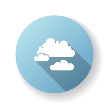 Cloudy weather blue flat design long shadow glyph icon. Overcast, moody sky, meteo forecasting. Atmosphere condition prediction science, meteorology. Clouds silhouette RGB color illustration