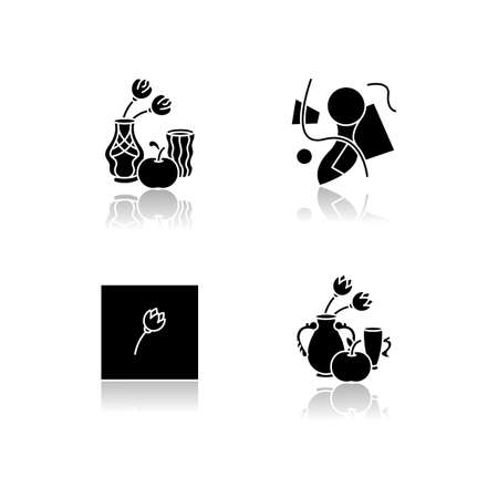 Art movements drop shadow black glyph icons set. Modern paintings exhibition. Art nouveau, abstractionism and minimalism styles. Isolated vector illustrations on white space