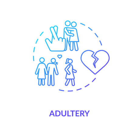 Adultery concept icon. Cheating idea thin line illustration. Boyfriend and girlfriend break up. Wife and husband divorce reason. Vector isolated outline RGB color drawing Illustration
