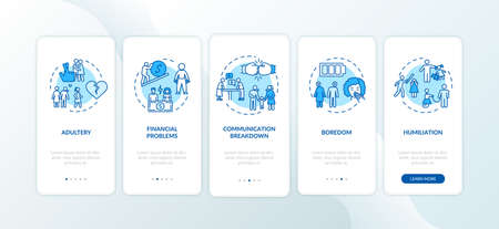 Divorce reasons onboarding mobile app page screen with concepts. Couple financial problems, adultery, boredom walkthrough 5 steps graphic instructions. UI vector template with RGB color illustrations