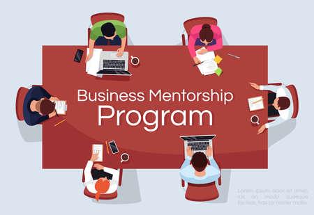 Business mentorship program banner template. Commercial horizontal flyer design with semi flat illustration. Vector cartoon promo card. Training for career advancement advertising invitation