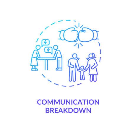 Communication breakdown concept icon. Family argument, partners conflict idea thin line illustration. Wife and husband troubles. Vector isolated outline RGB color drawing