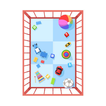 Playpen semi flat RGB color vector illustration. Toys for baby entertainment. Safe space for child to play games. Toddler home playground isolated cartoon object top view on white background