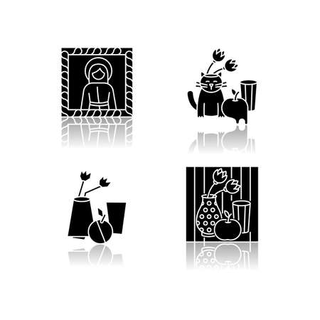 Art movements drop shadow black glyph icons set. Surrealism and cubism styles. Medieval portrait and pop art still life paintings. Isolated vector illustrations on white space