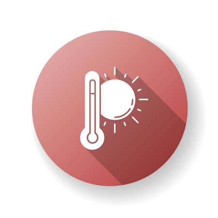 Hot weather red flat design long shadow glyph icon. Summer heat, seasonal forecasting, meteorology science. Air temperature prediction. Thermometer with sun silhouette RGB color illustration
